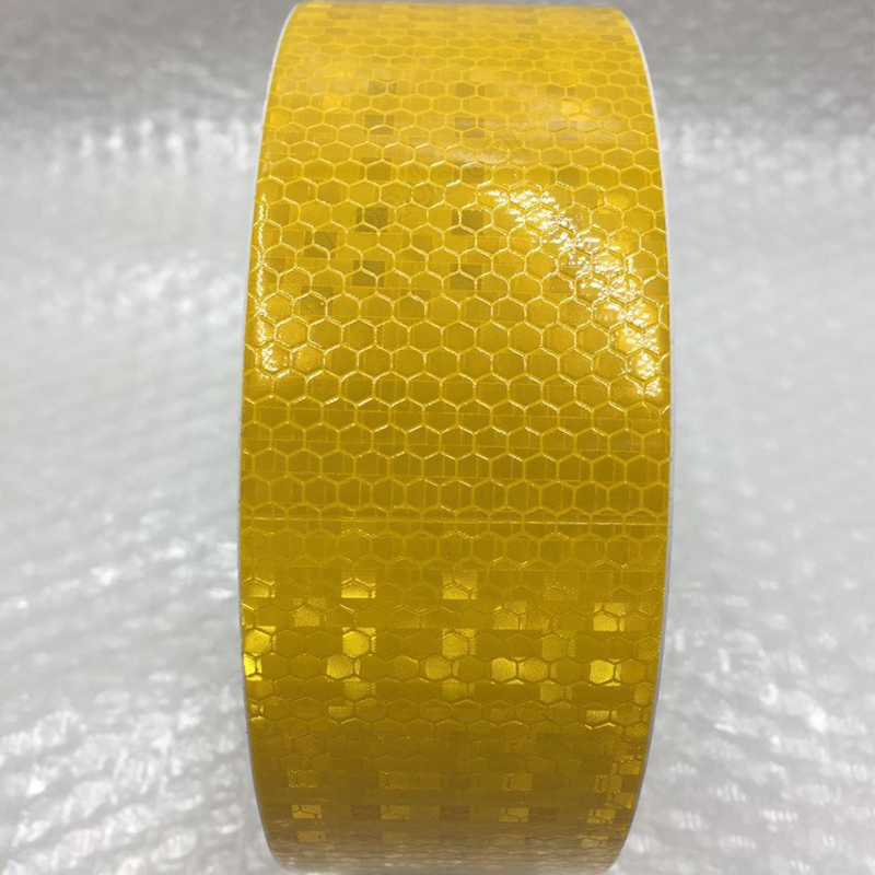5cm X 25m Yellow/White Reflective Warning Tape With Color Printing For Car