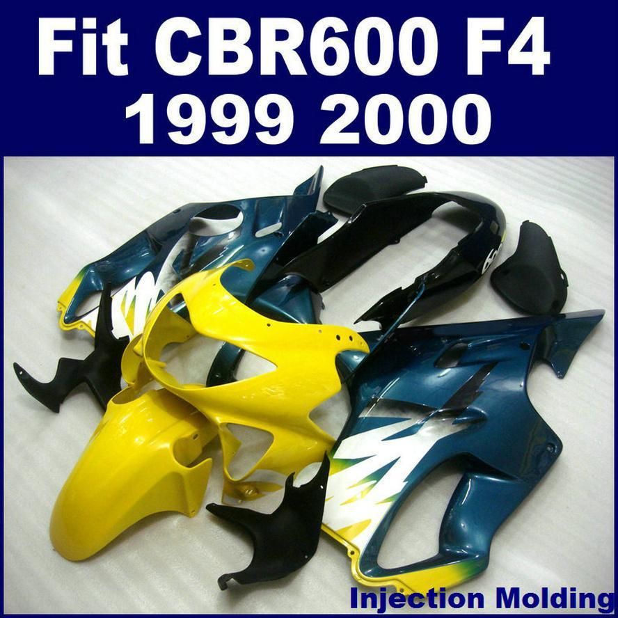 ABS en plastique pièces pour HONDA CBR 600 F4 1999 2000 carénage intégral noir jaune 99 00 CBR600 F4 moto carénages ZTGH