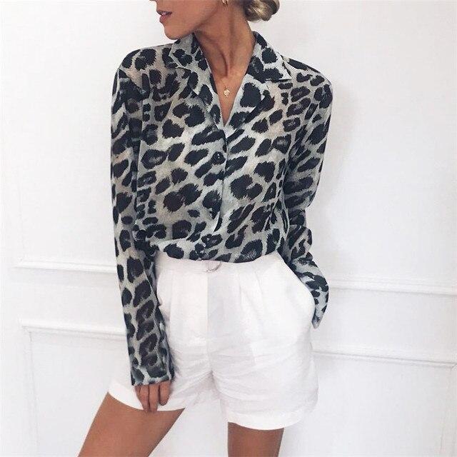 Blusa de Chiffon de Manga Longa Sexy Leopardo Impressão Blusa Turn Down Collar Lady Escritório Camisa Túnica Casual Tops Soltos Plus Size blusas