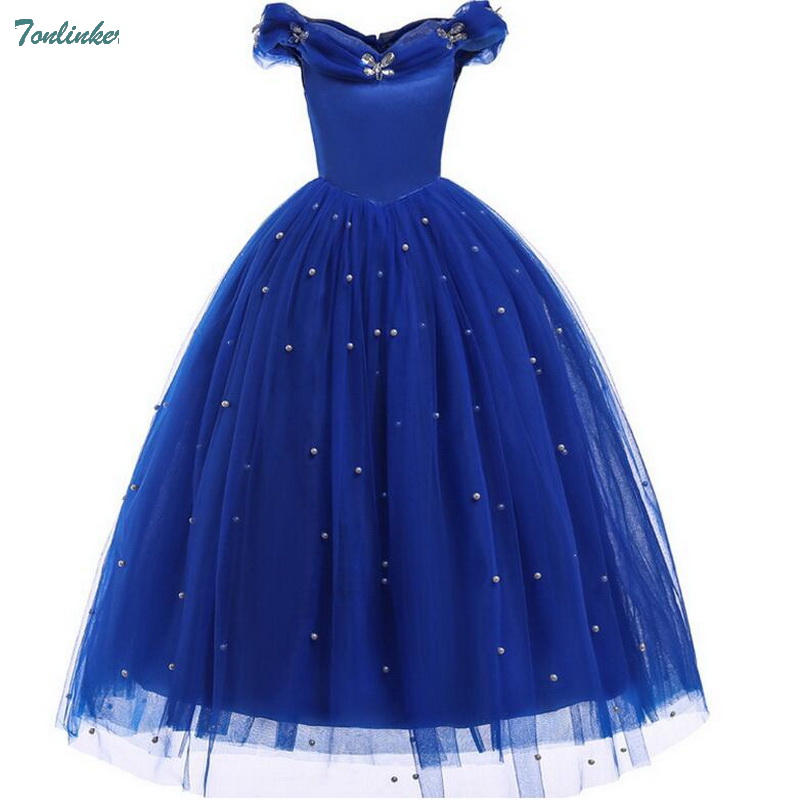 Girls Princess Cinderella Costume Dress Beaded Neck Party Ball Gown Outfits for Children Sling Off Shoulder Sleeveless Long Dres