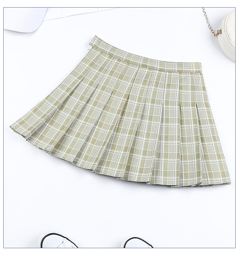 Women Pleat Skirt Harajuku Preppy Style Plaid Skirt