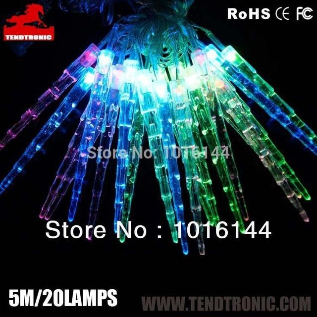 New Arrival 5m 20leds Icicle String Light Whole Chrismas Gift Crystal Pentament Led Lights