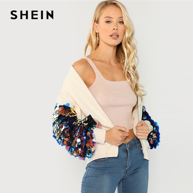 SHEIN White Highstreet Elegant Contrast Sequin Sleeve Pocket Front Zipper Up Jacket Autumn Casual Fashion Women Coat Outerwear