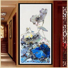 DiamondEmbroidery,China,landscape,scenery, Lotus flowers,5D Full Diamond Painting,Cross Stitch,Flower Mosaic,Decoration