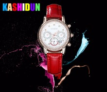 KASHIDUN. Reloj de Pulsera de Lujo Top Brand Vestido Ocasional de las mujeres A Prueba de agua Reloj de Diamantes Shell Dial Caja de Acero Llena Del Relogio Feminino