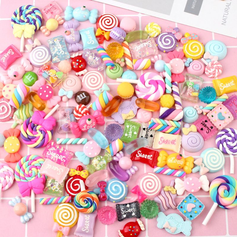 30/50Pcs Mixed Colorful Resin Lollipop Candy Cabochons DIY Crafts Mobile Phone Shell Materials Scrapbooking Hair Accessories