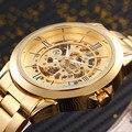 Top Luxus SHENHUA Gold Skeleton Automatische Uhr Mechanische Männer Armbanduhr Edelstahl Armband Luxus Männer Uhren kol saati-in Mechanische Uhren aus Uhren bei