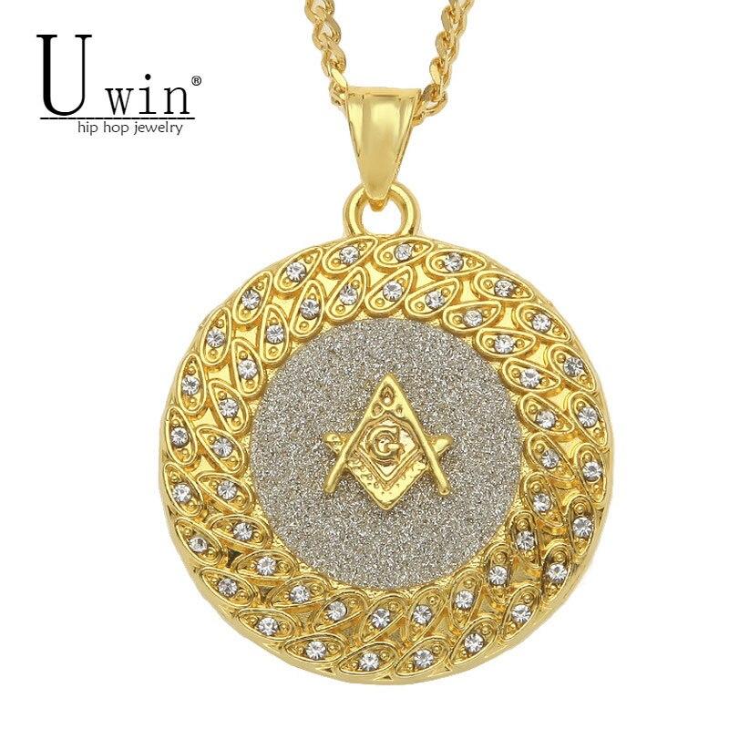 UWIN Iced Out Masonic Freemasonry Round Pendant Charm Bling Rhinestone Sand Blast Free Masonic Hip hop Necklace Punk Jewelry