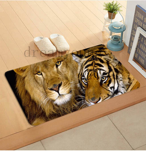 Custom Lion Tiger Door Mat Carpet Living Room 40x60cm Rug