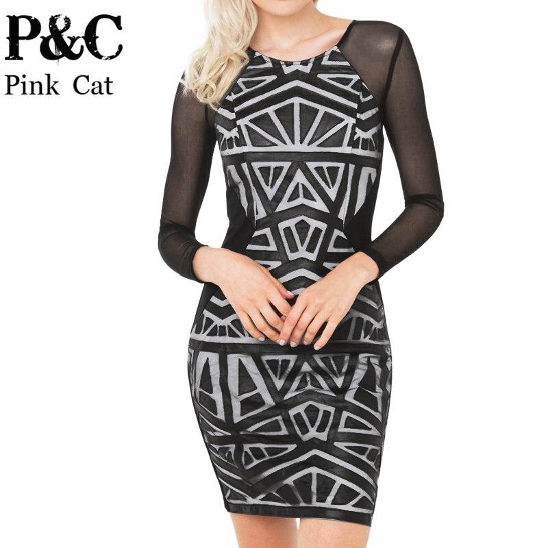 90e0d44f57b 2016 summer Geo Aztec Leather Bandage mini Dress Geometric Print Sleeve  Mesh Bodycon Dress 4708