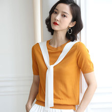 Women Sweater Pullover thin Tie Tops patchwork o Neck Essential Jumper Office Sweaters summer 2019 Korean Sweaters AA040S50 pink scoop neck patchwork splited hem thin sweaters