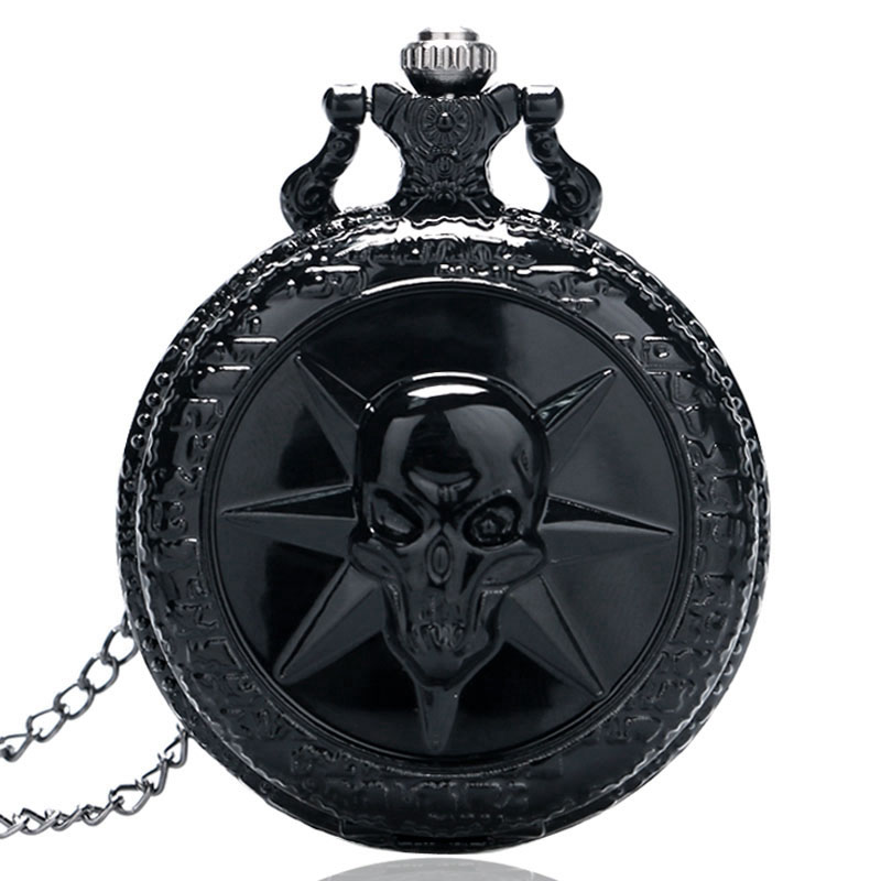 Full Steel Black Skull Cross Fire Quartz Pocket Watch Men Women Steampunk Watches Gift