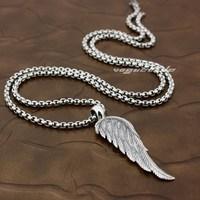 الملاك الطائر الجناح ريشة 2-Side الصلبة 925 فضة الأزياء قلادة 8x018