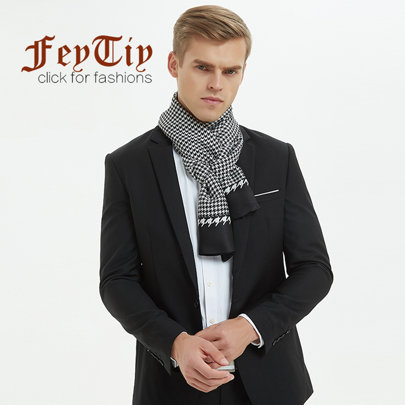 Silk Scarf Business-Scarves Luxury Brand Shawl Print Double-Faced-Neck Plaid Winter Men