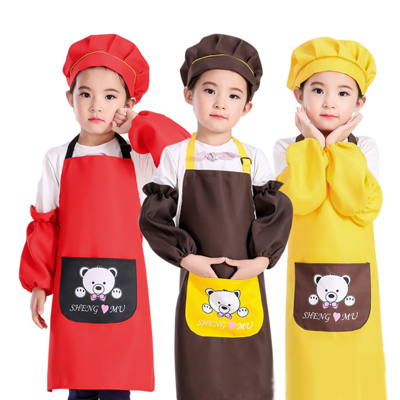 a1c24668d99 4PCS-suit Children's Baking clothes Pupils Anti-wearing smock Sleeveless  Painting apron funny kids cute aprons kitchen Baking