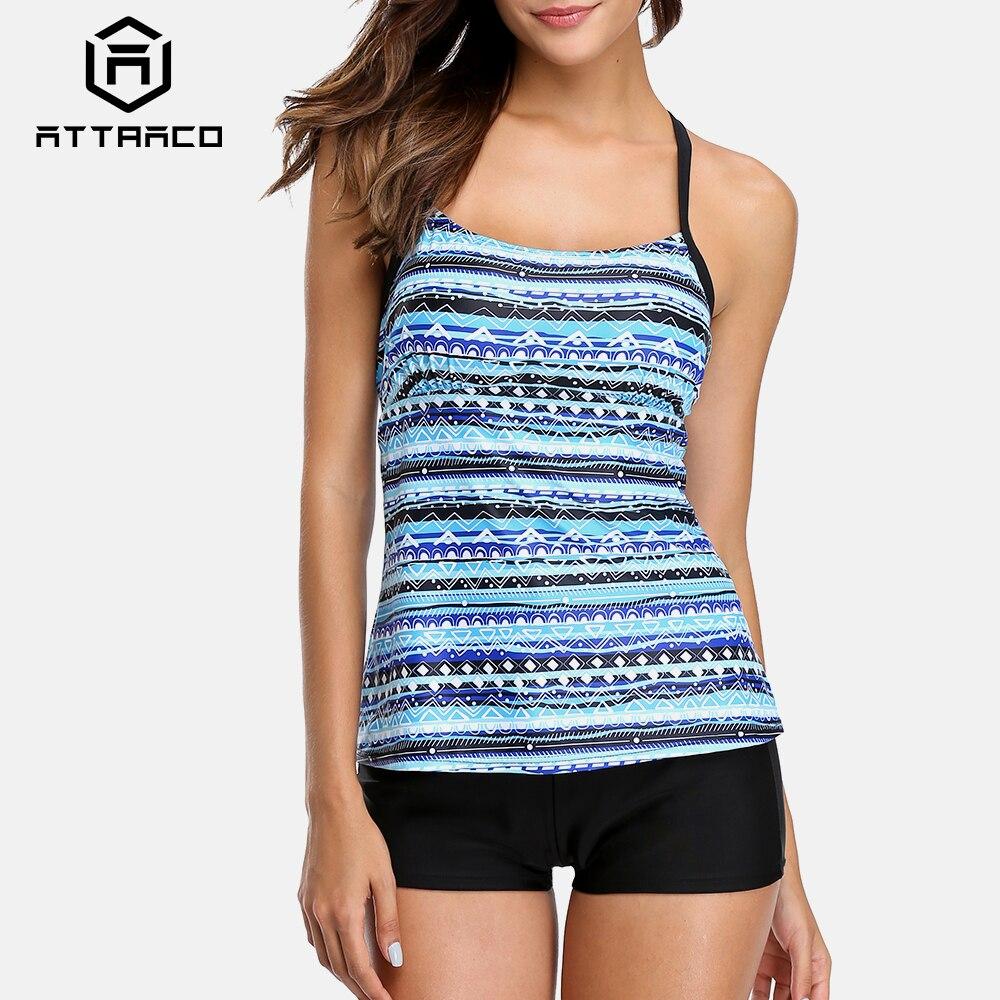 Attraco Tankini Set Women Swimwear Color block Leopard Printed Swimsuits Backless Bathing Suit Summer Beach Wear Bikini