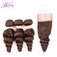 Ms Love Loose Wave Bundles With Closure #2 #4 Brown Human Hair Bundles With Lace Closure 4*4 Brazilian Hair Weave Bundles
