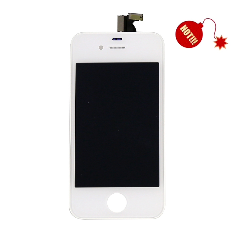 High Quality LCD Display Touch Screen Digitizer + Bezel Frame Assembly For iPhone 4 4G , White Free Shipping + Track Code high quality lcd display touch screen