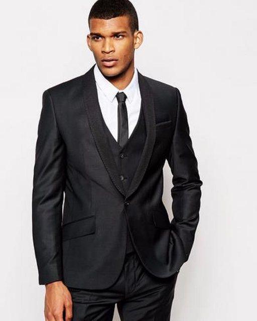 Online Shop 2017 Black Business Men Suits Custom Made Bespoke ...