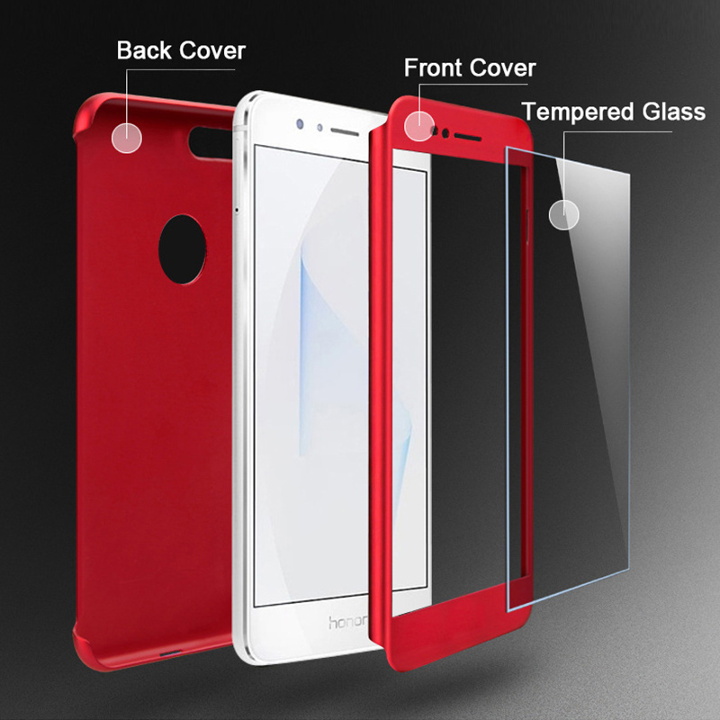 wholesale dealer aa337 75c2e Honor 8 Case 360 Degree Full Body Cover for Huawei Honor 8 Matte Finish  Phone Shell with Tempered Glass Screen Protector Fundas-in Fitted Cases  from ...
