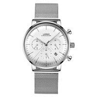 LOREO 6112 Германия Bauhaus часы кварцевые сапфира водостойкий 5ATM Calendar Chronograph модные роскошные часы