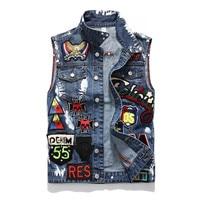 new hip hop Sleeveless Jacket Plus Size Dark Blue Jeans Cowboy Denim Vest mens vests outerwear vest