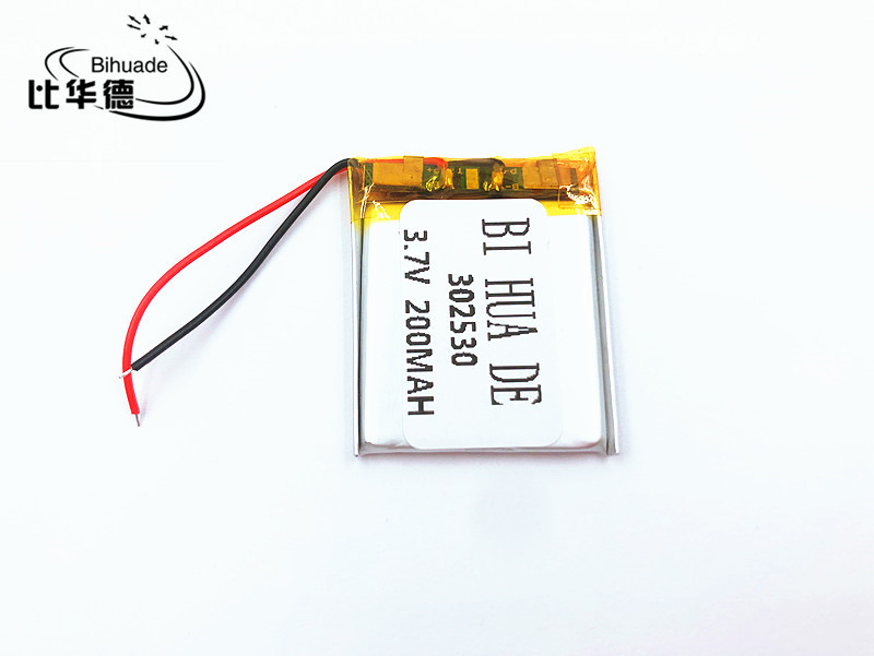 li-po <font><b>302530</b></font> 3.7V 200mah Lithium polymer Battery with Protection Board For MP4 Digital Products image
