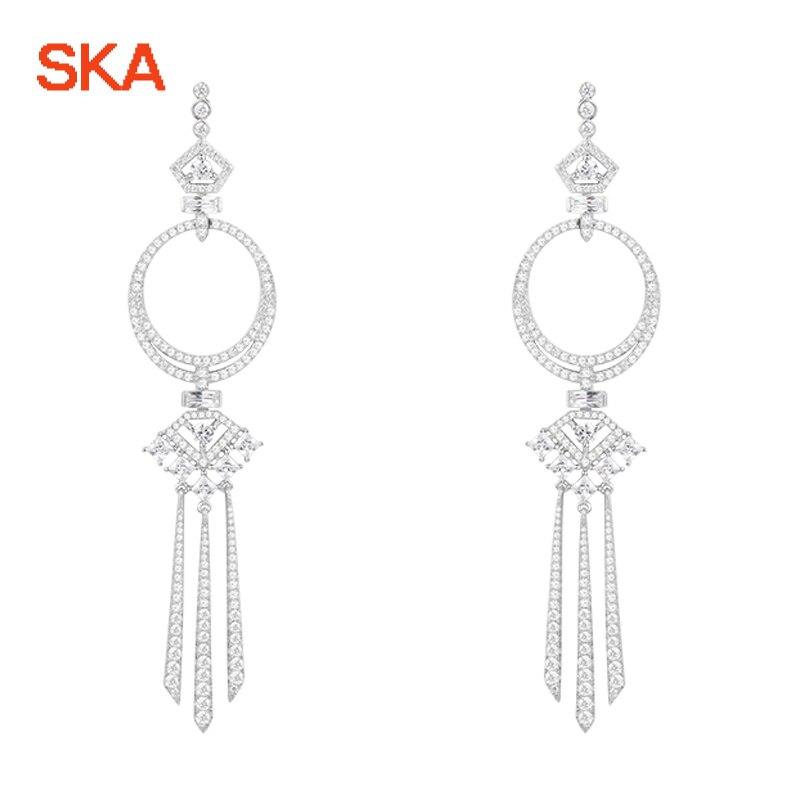 SKA Brand Drop Earrings For Women 925 Silver Women Earring Inlaid Crystal Earrings Magic Fashion Fine Jewelry AE10492OX