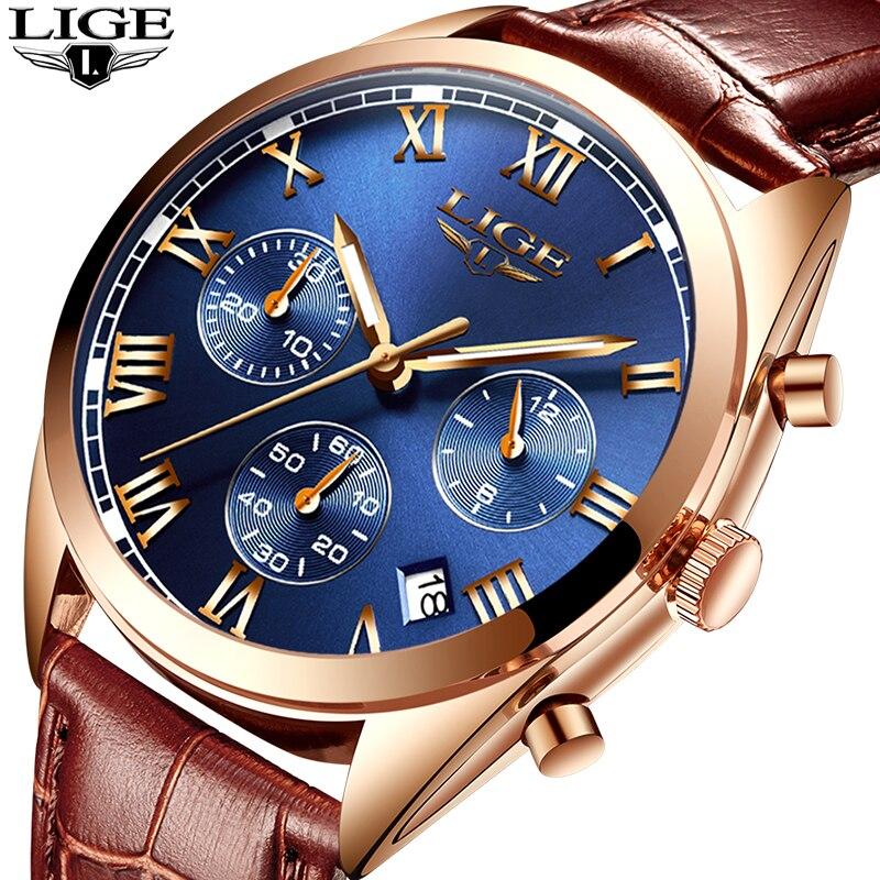LIGE Top Luxury Brand 2018 New Men Watches Leather Quartz Business Watch Mens Military Sport Waterproof Clock Relogio Masculino