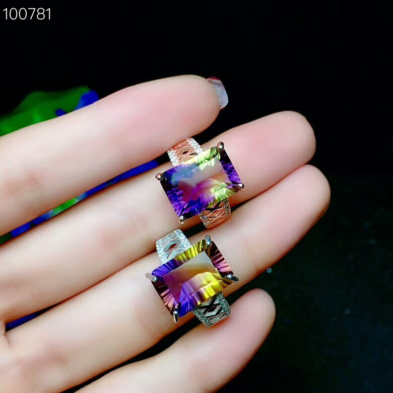 KJJEAXCMY Fine jewelry Fine 925 pure silver inlaid natural purple gold crystal female ring ring square