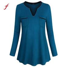 0b10af5d5c (Ship from US) Women blouses plus size feminino Long Sleeve Henley Shirt V  Neck Casual Tunic Pockets womens tops and blouses roupas Femininas