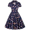 2016 mujeres del verano dress audrey hepburn estilo de manga corta de aves imprimir vestido de fiesta vestido de cuello de solapa 50 s rockabilly swing grande vestidos