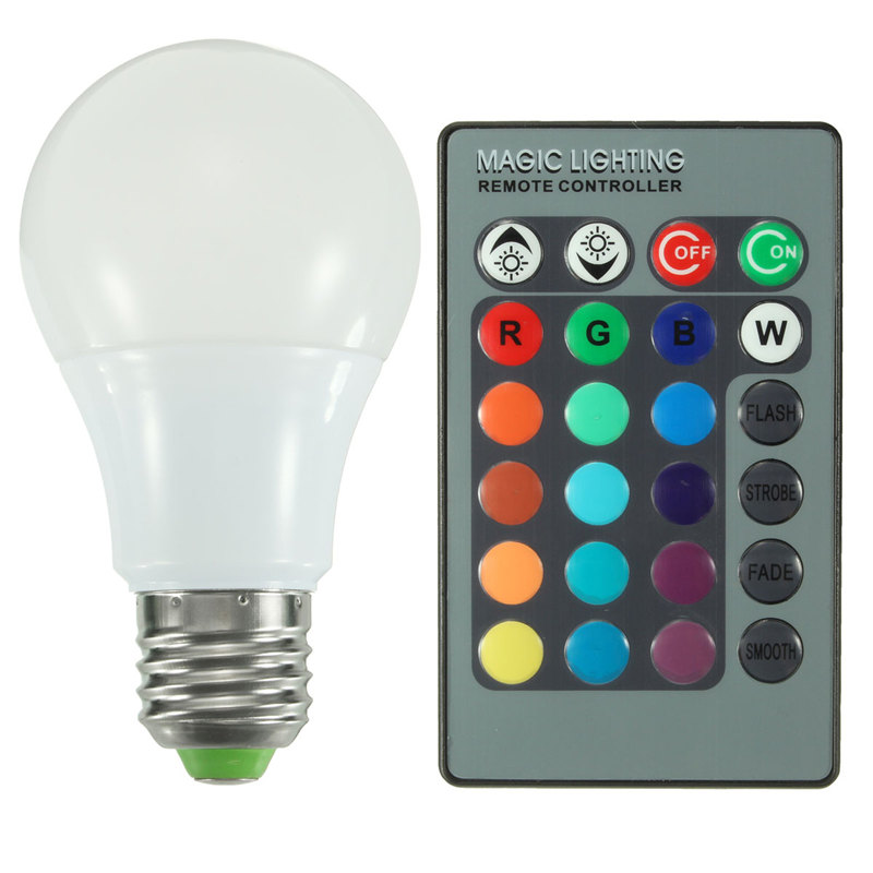 E27 RGB LED Light Bulb 3W 5W 10W Real Power 16 Color Changing Globe Light LED Lamp With 24 Keys Remote Control AC85-265V jr led e27 10w 500lm led rgb light bulb w remote control white silver ac 85 265v