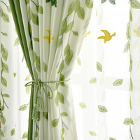 Cotton Simple modern cotton and hemp fresh green curtains Custom Embroidered pastoral bedroom living room window gauze