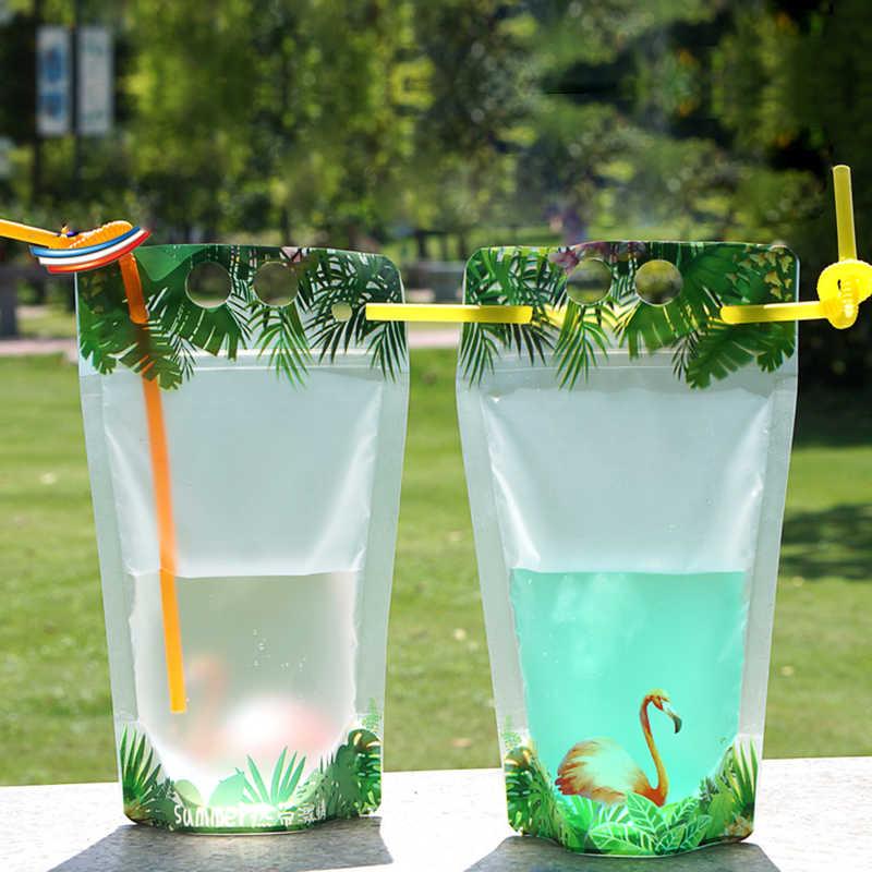 HARDIRON 100PCS New Flamingo Pattern Drink Bags Various Fruit Juice Coffee Liquid Disposable Portable Packing Ziplock Pouch