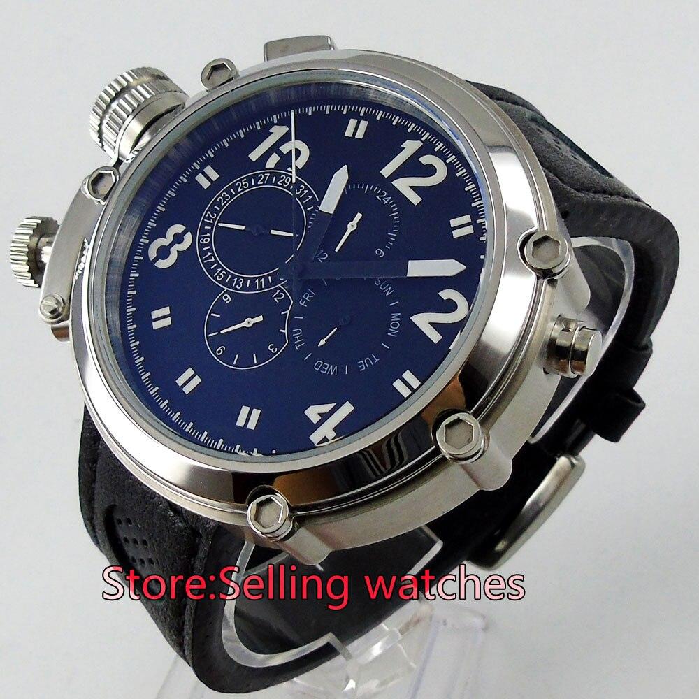 50mm Parnis Big Face black dial lefy Mechanical automatic men s watch