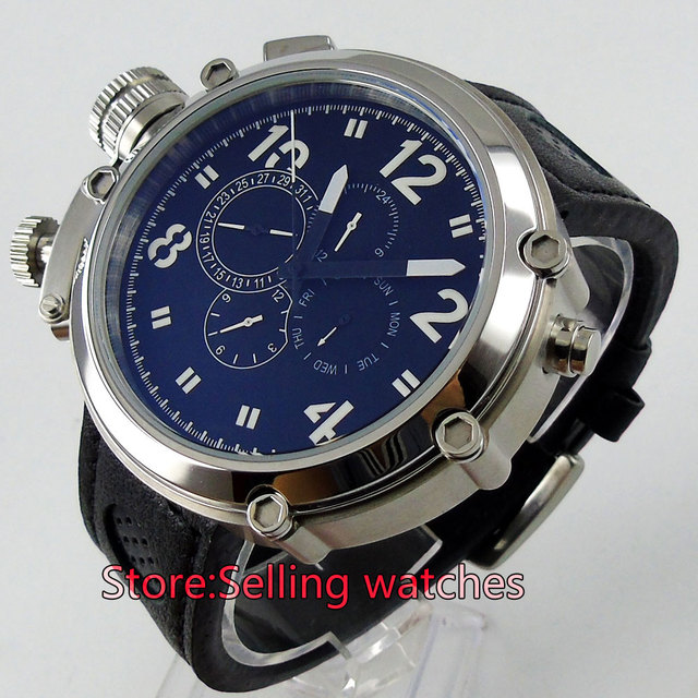 50mm Parnis Big Face black dial lefy Mechanical automatic men's watch