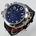 50mm Parnis Big Rosto lefy mostrador preto relógio dos homens Mecânico automático
