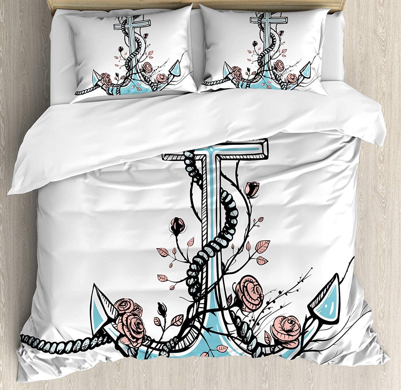 Anchor Duvet Cover Set Romantic Boho Design Sketch of an Old Anchor with Roses Black Ink Style, Decorative 3 Piece Bedding SetAnchor Duvet Cover Set Romantic Boho Design Sketch of an Old Anchor with Roses Black Ink Style, Decorative 3 Piece Bedding Set