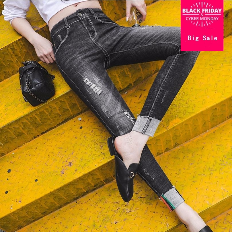 7XL plus size Fashion brand scratched stretch cotton cool denim high waist pants capris Female casual label pencil jeans wj2870