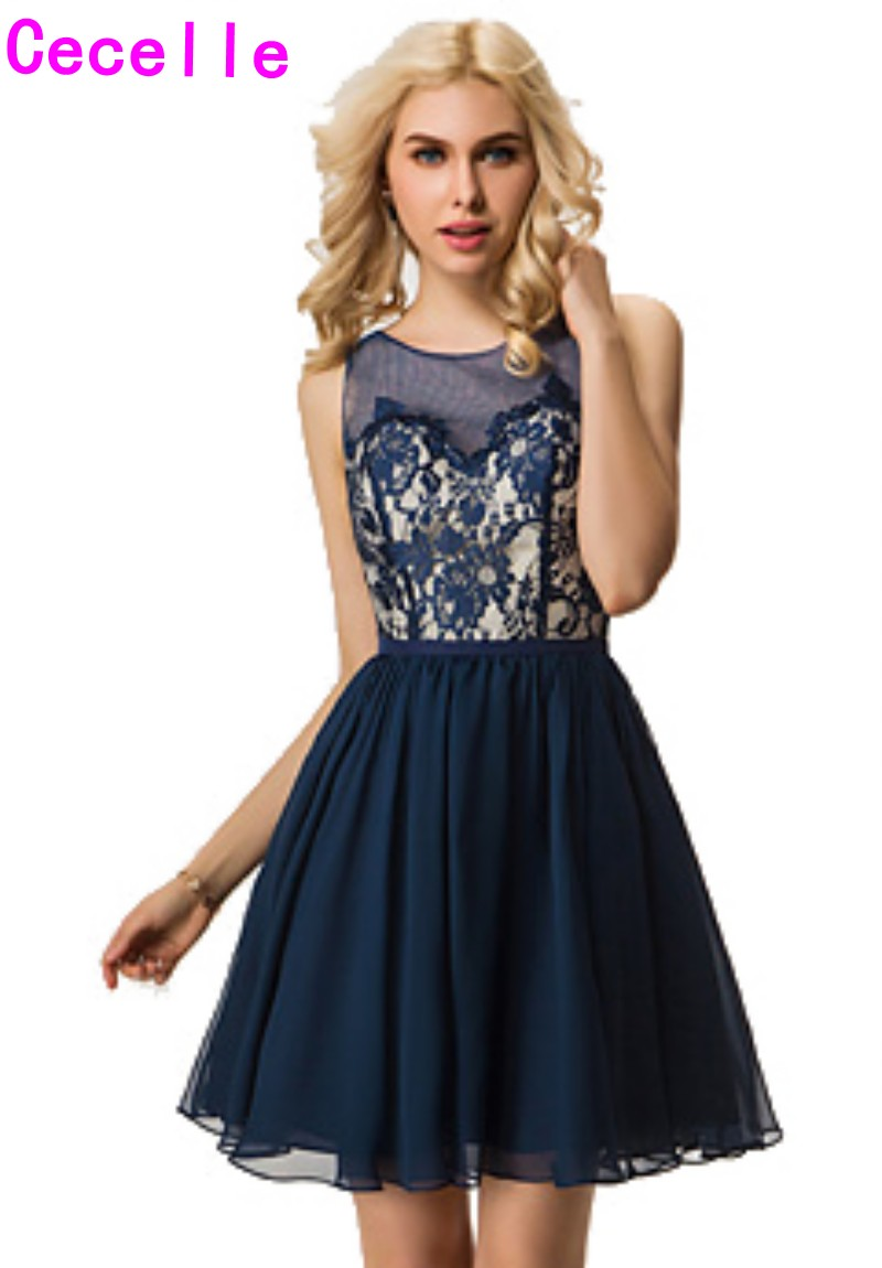 2019 Navy Beach Short   Bridesmaid     Dresses   Sleeveless Lace Top Country Informal Summer Wedding Party Gowns   Bridesmaid   Robe Sale