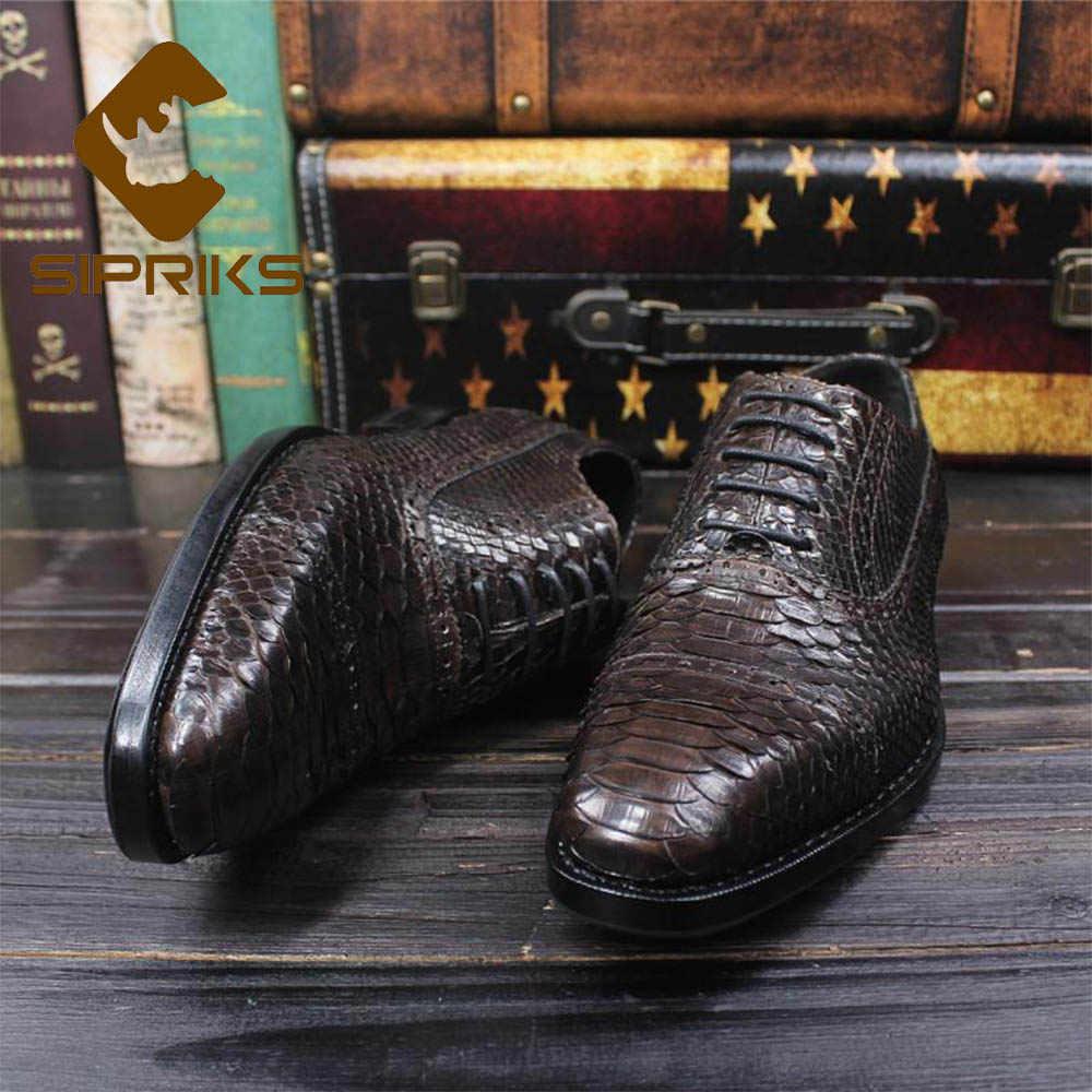Sipriks Dark BROWN SNAKE Skin Oxfords บุรุษที่กำหนดเอง Goodyear Welted Python รองเท้า BOSS Brogue รองเท้าสังคมชุด 45