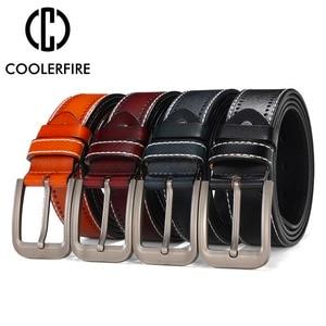 Image 4 - Ceintures de styliste en cuir véritable pour hommes, pantalon à la mode et style décontracté, avec couleur noire, marron, marine et Orange