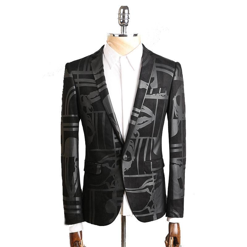 6d40e7d121 2016 Novos chegada da alta qualidade impressa Único botão Blazer preto  homens Homens jaqueta Casual Magro Blazer jaquetas Tamanho M-4XL
