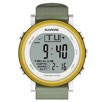 SunRoad 낚시 시계 일기 예보 고도계 기압계 온도계 야외 등반 시계 방수 남성 스포츠 시계, 골드