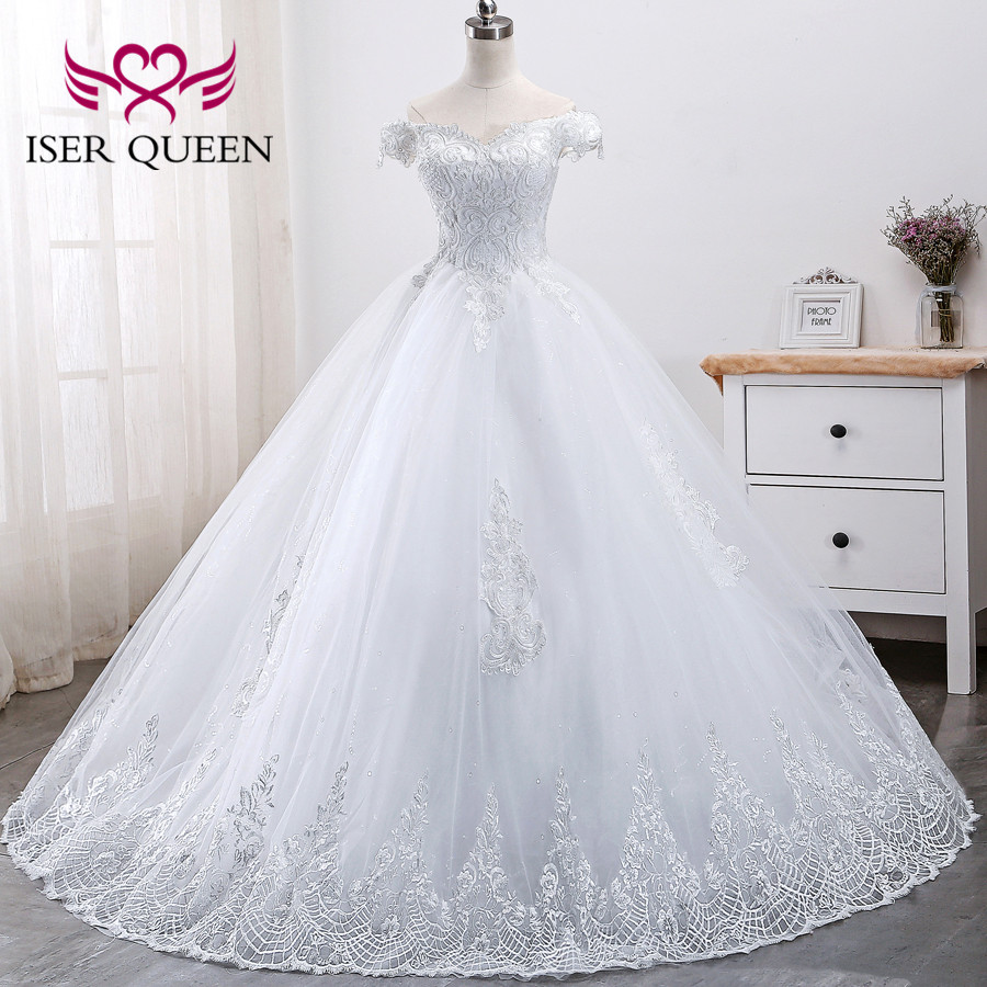 Embroidery Beading Lace Ball Gown Arab Wedding Dresses Vestidos De Novia 2020 Cap Sleeves Bridal Dress Wedding Gowns WX0002