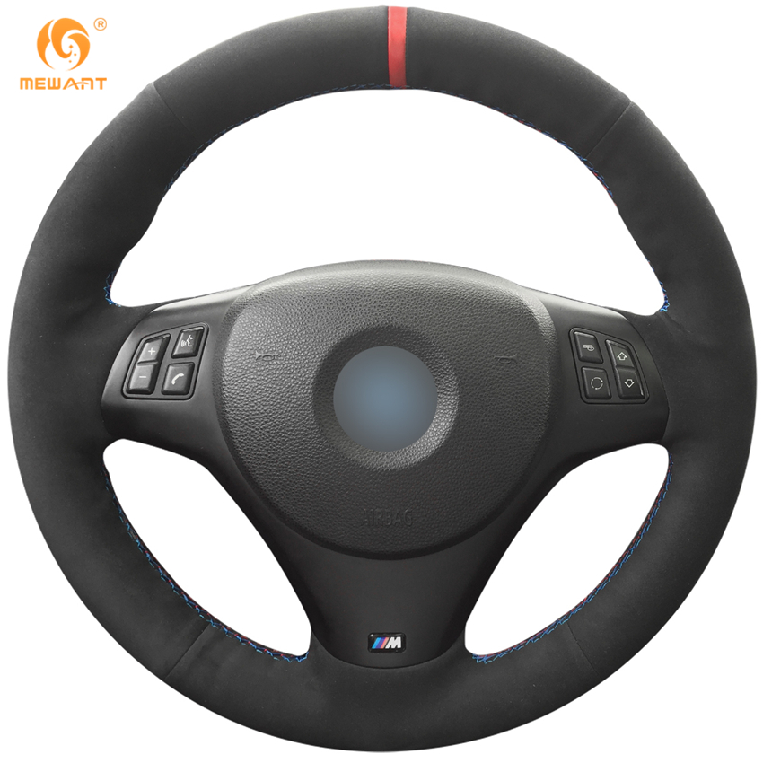 MEWANT Black Suede Car Steering Wheel Cover for BMW M3 2009-2013 E92 aluminum alloy shift paddles fashion style car steering wheel decoration accessories for e90 e3 e92 m3 e93 m3