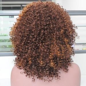 Image 2 - MSIWIGS オンブル黒巻き毛のかつらブラウン合成アフロかつら前髪耐熱赤髪