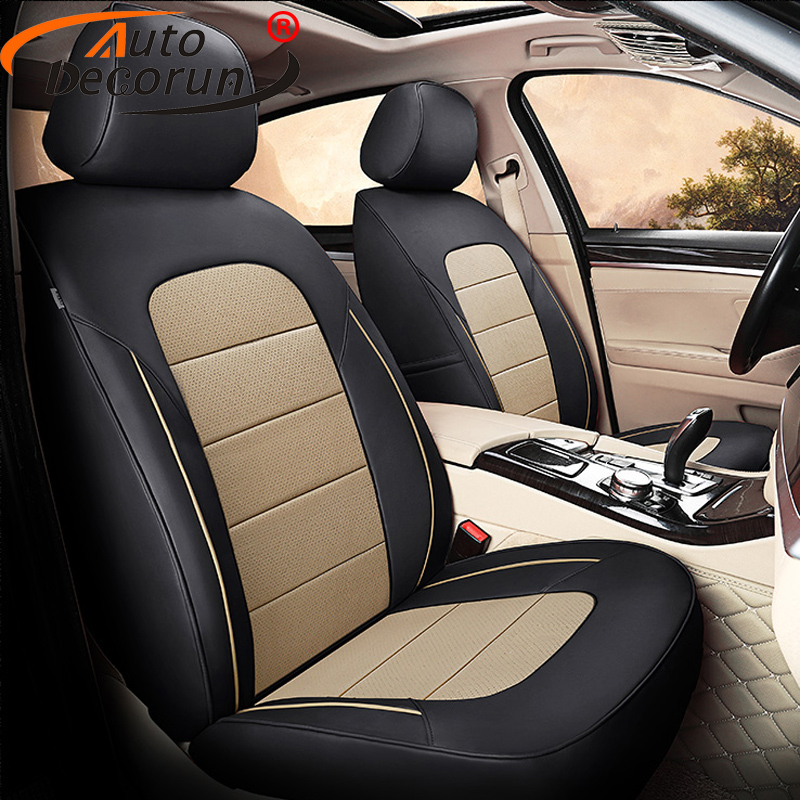 Autodecorun 14pcs Set Genuine Leather Seat Covers For