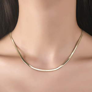 Image 2 - 14k Pure Gold Blade Necklace Flat Thin Mirror Snake Bone Wide Collarbone Chain Women And Men Gift Genuine Jewelry Hot Sale good